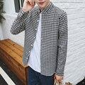 Большой Размер Решетки мужская Рубашка 2016 Новый Длинным рукавом черный Camisa Хлопок Тонкий slim-типа Рубашки Решетки Мужчины Рубашка M-5XL