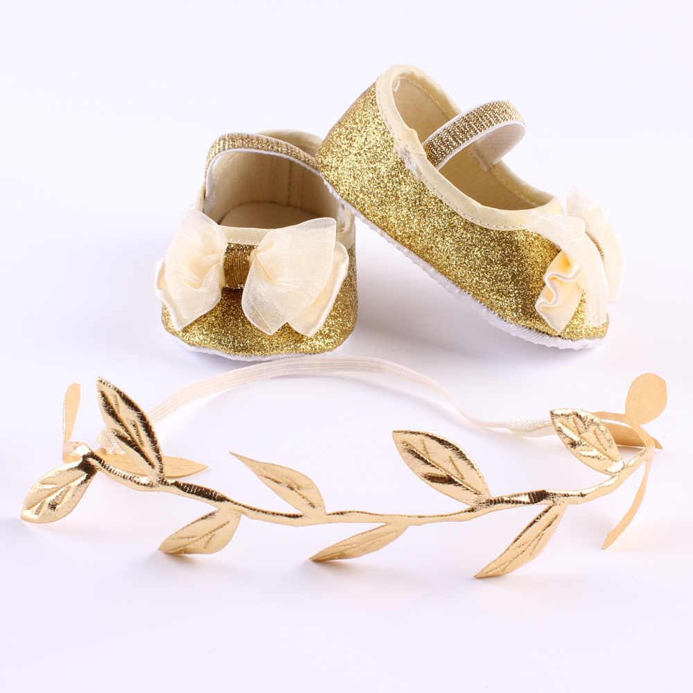 Newborn Baby Girl Gold Shoes Flower Bow Toddler Infant Baby Booties Headband Set Little Girl Baby Walker First Shoe+Headband