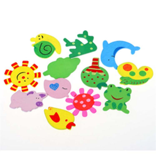 Set Baby 12 Colorful Cute Beautyful Fridge Magnet Home Wooden Cartoon Animal Funny Child Educational Toys