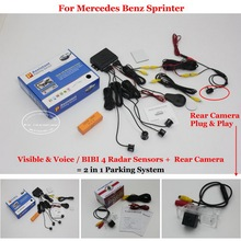 Liislee Car Parking Sensors + Rear View Back Up Camera = 2 in 1 Visual / BIBI Alarm Parking System For Mercedes Benz Sprinter