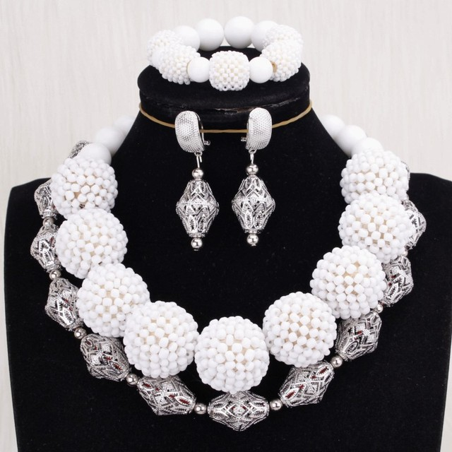 4ujewelry Indian Bridal Jewelry Set Silver and White Handmade Balls Bracelet Earrings Necklace Set for Nigerian Weddings 2019