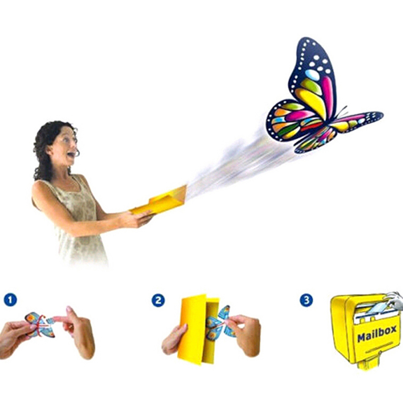 Magic Flying Butterfly Change From Empty Hands Freedom Butterfly Close Up Magic Tricks Kids Toy Funny Gadgets Color Random