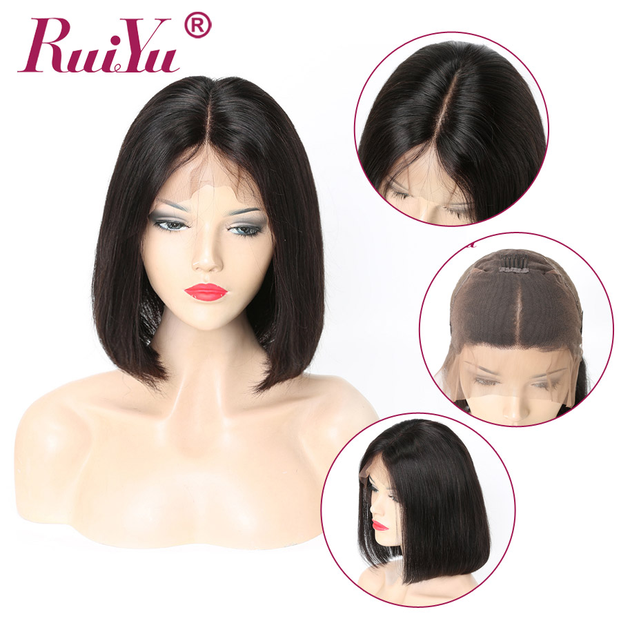 Peruvian Bob Lace Front Wigs Straight Short Human Hair Wigs 13x6 Lace Front Human Hair Wigs With Baby Hair RUIYU Remy Hair Wigs