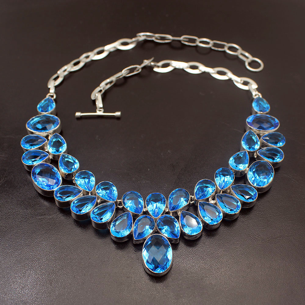 Dashing Natural Unique Ocean Blue Topaz925 Sterling Silver Necklace Choker Necklaces 17 Inch Free Shipping