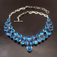 Hermosa Natural Unique Ocean Blue Topaz925 Sterling Silver Necklace Choker Necklaces 17 Inch Free Shipping