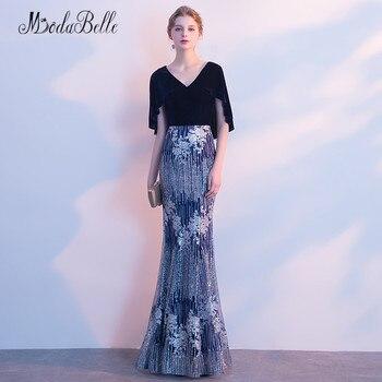 modabelle 2018 Navy Blue Velvet Evening Dress With Cape Mermaid Kaftan Dubai Sparkling Sequined Party Gown Long Prom Dress Women