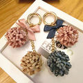 Fancy Fashion Rose Flower Keychain Car Key Chain Key Ring Women Bag Plush Accessories Pendant Charms