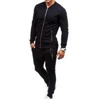 2018 Men Set Tracksuit Outwear Zipper Sportwear Track Suit Male Sweatshirts Black Casual Sweatshirts Pants Male Plus Size XXXL