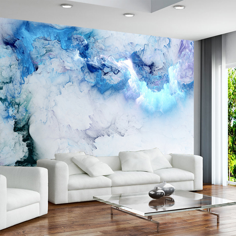 Custom Any Size Mural Blue Cloud Non-woven 3D Wallpaper Living Room Background Wall Decoration Waterproof Photo Papel De Parede