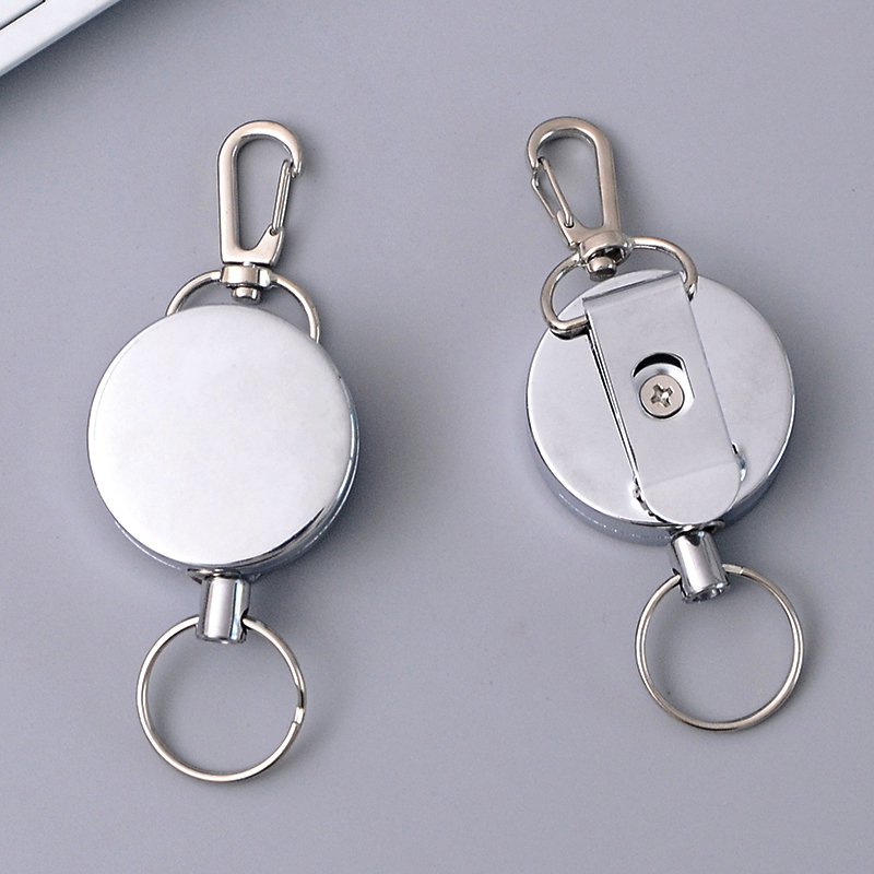 2019 Retractable Key Ring ID Badge Metal Lanyard Name Tag Card Holder Recoil Reel Belt Clip School Office Supplies High Quality