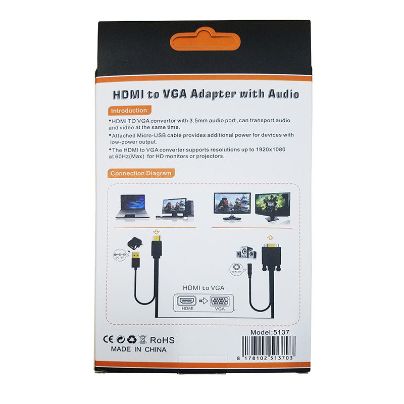 US $9.31 29% OFF DANSD HDMI to VGA Adapter with 3.5mm Jack Audio Video on