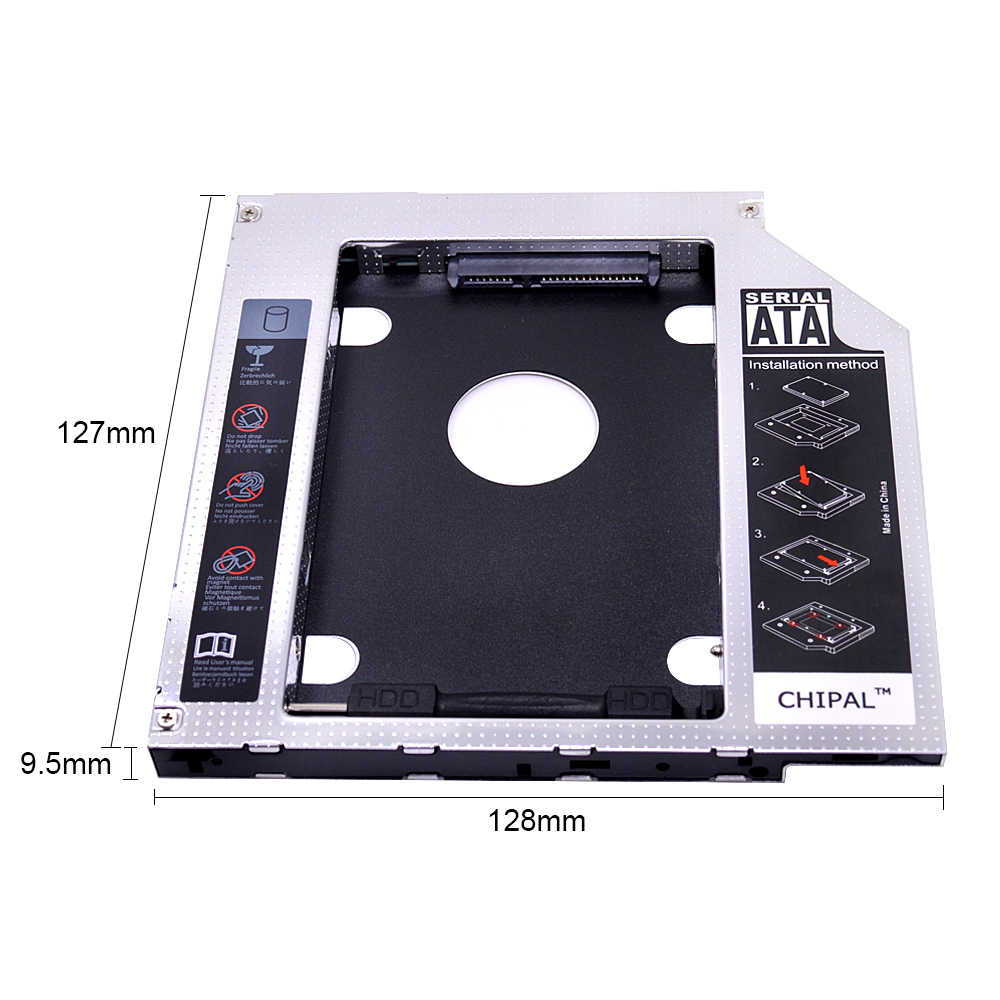 """CHIPAL алюминиевый Универсальный 2-ой HDD Caddy 9,5 мм SATA 3,0 для 2,5 """"2 ТБ SSD чехол HDD корпус с светодиодный для ноутбука CD-ROM DVD-ROM"""