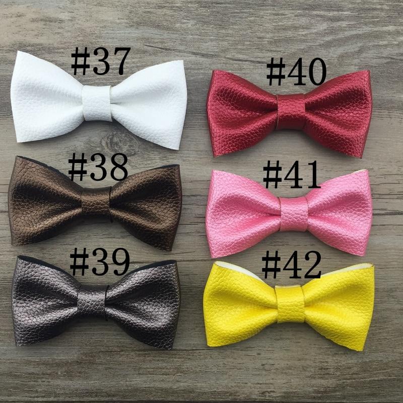 5ks / lot 47colors 9,5 * 5cm ručně vyráběné dětské lukové pokrývky hlavy dámské dívky kožené lukové hlavy ozdoba děti krásné vlasové doplňky cravat