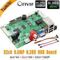 8ch*4K/32ch*5.0MP/32ch*1080P H.265/H.264 NVR Network Vidoe Recorder DVR Board IP Camera with SATA Line ONVIF CMS XMEYE