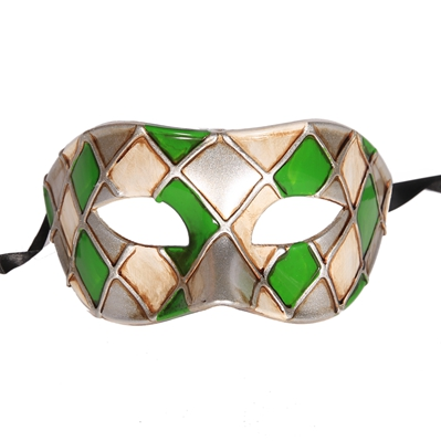 Горячая Арлекин Маскарад Танцевальная вечеринка маска уникальная мужская Венецианская проверенная маска - Цвет: green silver