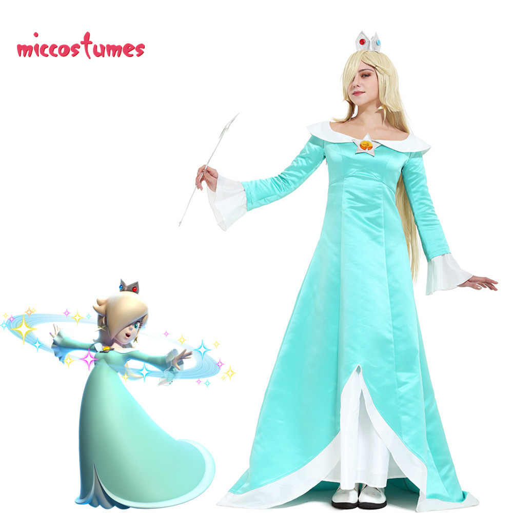 Galaxy Rosalina Cosplay Costume With Crown Earrings Woman Light Blue Dress Halloween Outfit