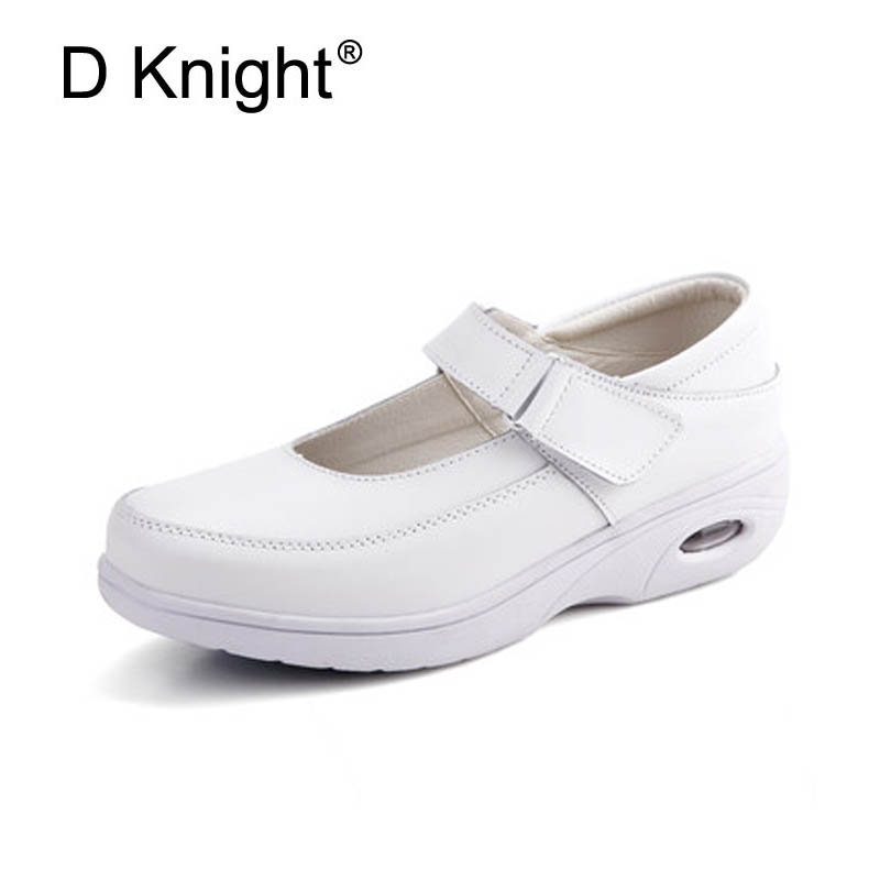 Women Genuine Leather White Nurse Casual Platform Shoes Woman Summer Creepers Mary Janes Wedges Comfort Women Shoes Size 34-40 summer shoes woman platform sandals women soft leather casual open toe gladiator wedges women nurse shoes zapatos mujer size 8