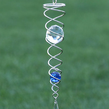 Hot Sale Wind Chime Mirror Reflective Metal Wire Crystal Ball Bell for Home Garden Decoration