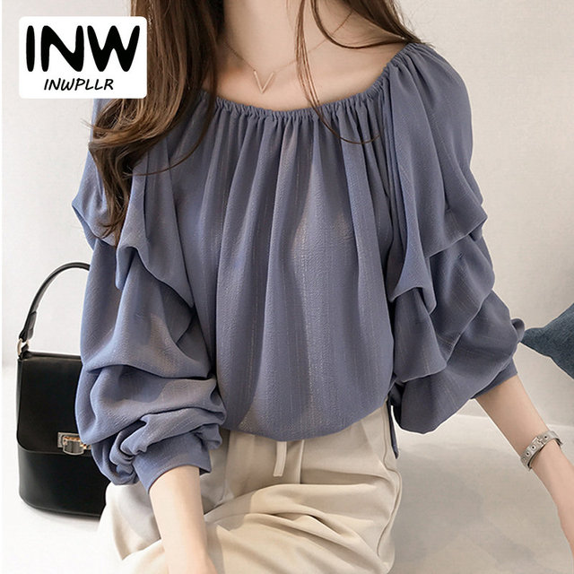 Women Chiffon Blouse Sexy Puff Sleeve Shirts Slash Neck Off Shoulder Tops  Autumn 2019 Fashion Shirt Female Plus Size Blusa Mujer a3e7ebb863d4