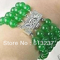 """New Malaysia Jade 4 Rows Natural 8mm Round loose beads making Jewelry bracelet 7.5"""" YE2088"""