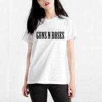 Gildan Mercerized Cotton Woman T Shirt Rock Music Guns N Roses T Shirt Woman Tee Womens