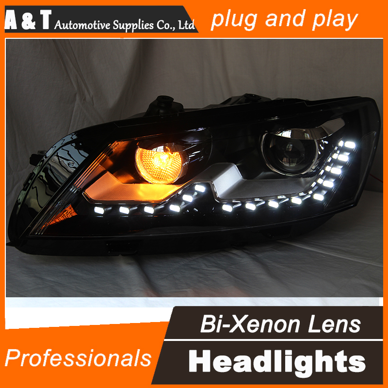 Car Styling for VW Passat B7 Headlight assembly Original LED Headlight US DRL Lens Double Beam H7 with hid kit 2pcs. hireno headlamp for hodna fit jazz 2014 2015 2016 headlight headlight assembly led drl angel lens double beam hid xenon 2pcs