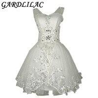 Gardlilac Elegant Lace Ball Gown Short Wedding Dress White Bridal Gowns With Appliques Beading vestido de noiva