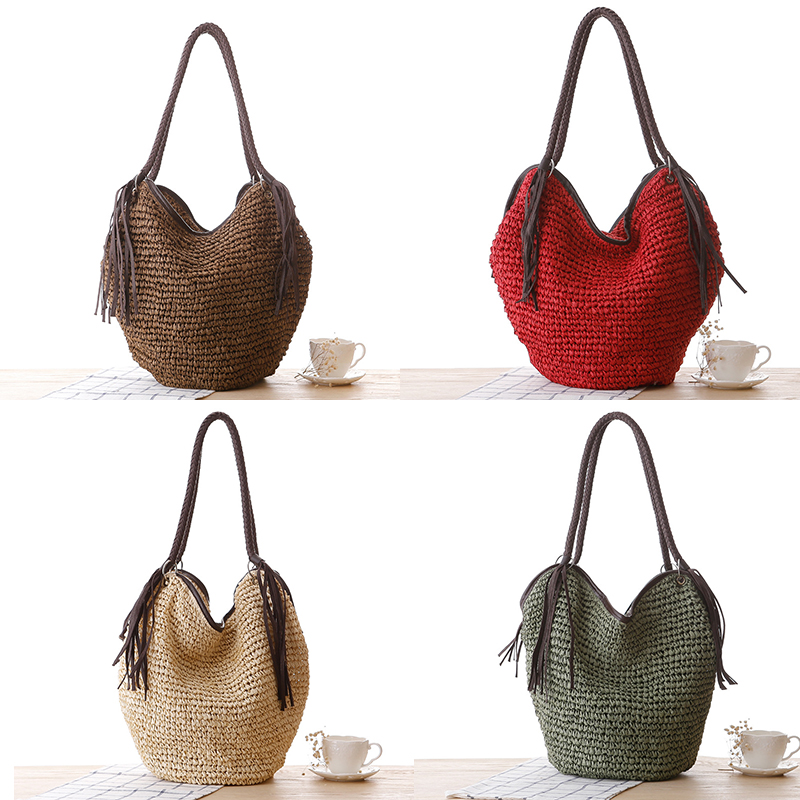 OCEHNUU Big Straw Beach Bags Women Handbags Summer Fashion Female 2020 Casual Women's Bags Shoulder Bag Tassel Zipper Bolsas 5
