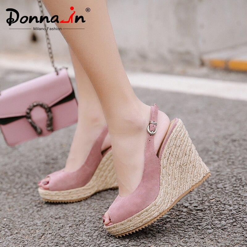 Donna-in plate-forme sandales Wedge femmes en cuir véritable Super hauts talons bout ouvert plage mode femme 2019 été dames chaussures