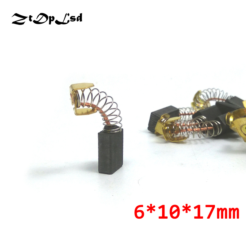 ZtDpLsd 2 Pcs/Pairs Mini Drill Electric Grinder Replacement Carbon Brushes Spare Parts For Electric Motors Rotary Tool 6*10*17mm