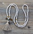 Yoga Necklace High End 6MM Howlite with Charms Long Tassel Beads Necklace Luxury Handmade Onyx Bead Bohemia Women Necklace