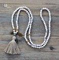 Yoga collar de gama alta 6mm howlite con encantos largo collar de perlas borla de lujo hecho a mano de bohemia mujeres collar de cuentas de ónix