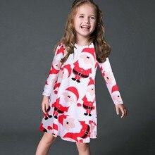 Women O neck Christmas Santa Claus Print Dress