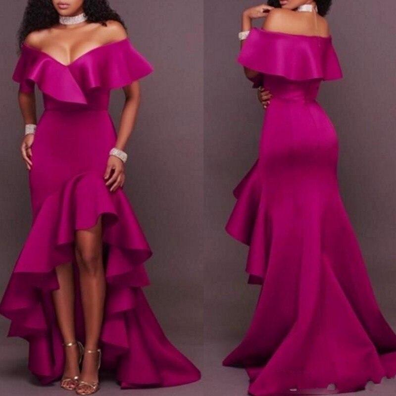 Abendkleider Satin Evening Dresses Hi Low Fuchsia Elegant Evening Gowns Long 2019 Robe De Soiree Vestido Longo Formal Dress Special Summer Sale