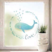 Dolphins toning Custom size stickers electrostatic frosted stained glass window film Sliding door kids room static self-adhesive