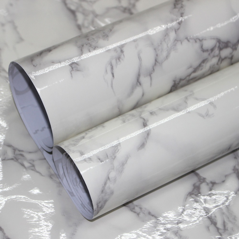 HaokHom Marble Peel and Stick Wallpaper for wall 3d Contact Paper Gloss Vinyl Film Self Adhesive furniture Sticker Countertops