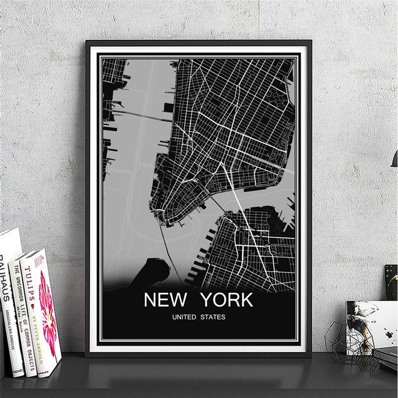 Modern New York City Poster Abstract World Map Canvas Coated Paper Oil Painting Print Picture Living