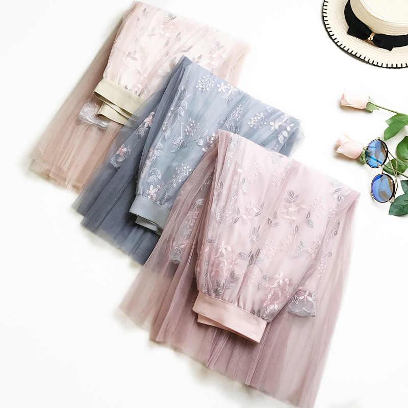 2019 여름 꽃 자수 얇은 명주 그물 치마 높은 허리 단어 긴 치마 높은 허리 주름 치마 여성 투투 스커트