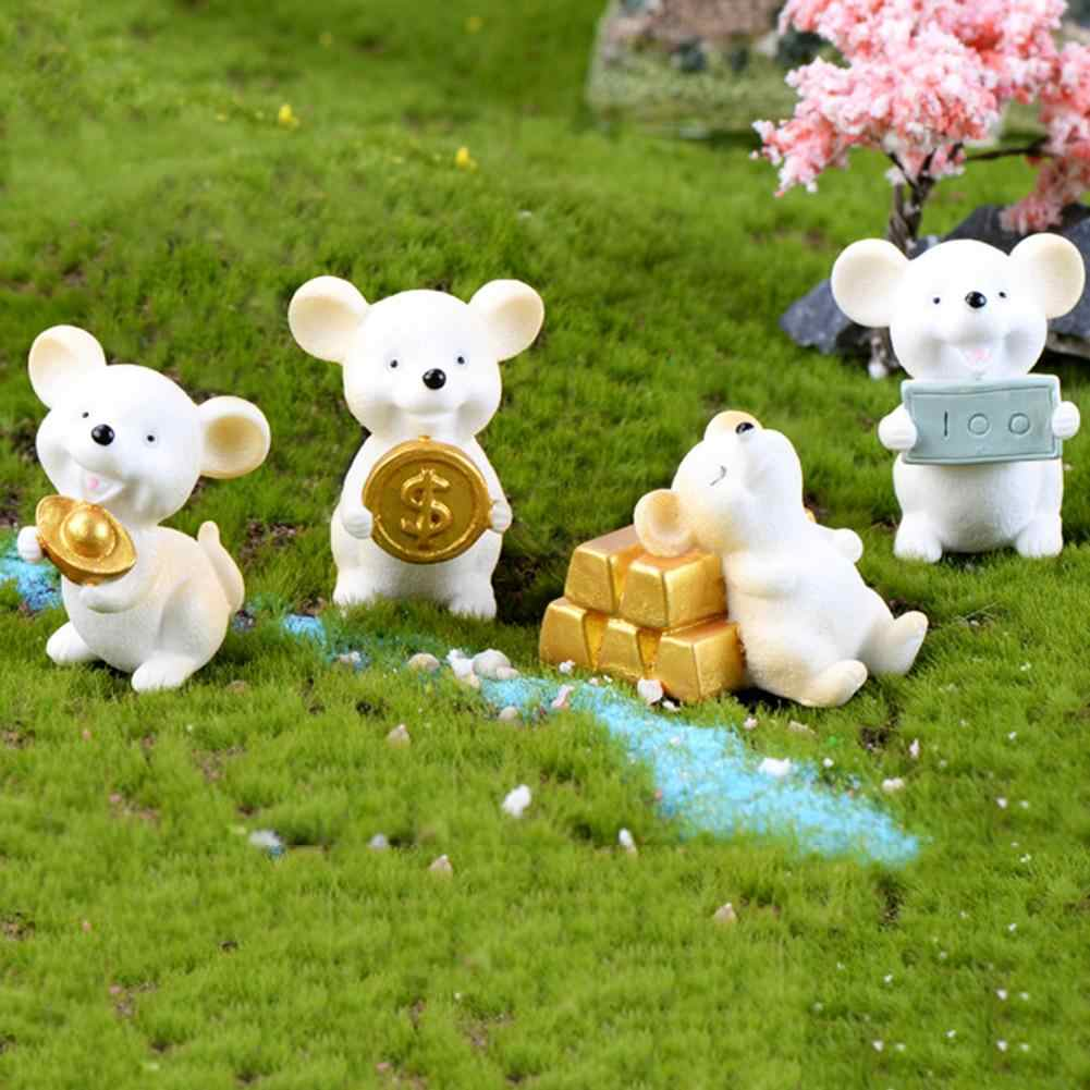 Mini Shengxiao Figurine Resin Decoration Crafts Ingot Gold Coin Lucky Rat Animal Figurines Statue DIY Garden Table Ornament
