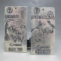 Chinese Miao Silver 12 Chinese Zodiac Rabbits Sheep Statue Talisman No Bracket