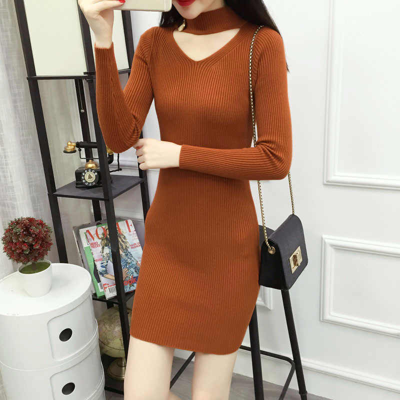fcde05e596b H Trendy Social Office Dress Winter Knit Warm Tight Dress Sexy Mini Bodycon  Dress ...