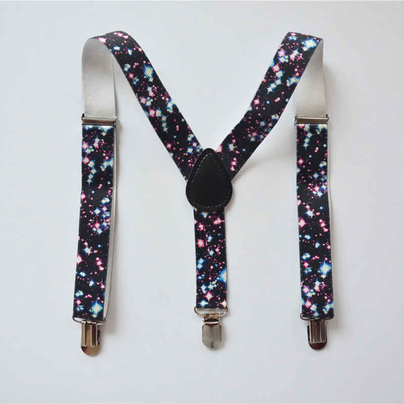Children Suspenders Baby Boys And Girls Suspenders Clip-on Y-Back Braces Elastic Fireworks Print Kids Suspenders