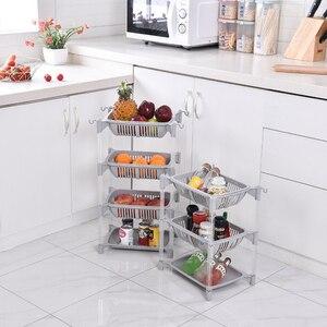 Image 5 - Keuken Organizer Pp Opslag Rack Plank Met Beweegbare Mand Badkamer Keuken Koelkast Side Planken 3/4 Lagen Fruitmand