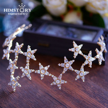 Romantic Sparkling Stars Wedding Hair Accessories Gold Brides Tiaras Crowns Crystal Hairbands Evening Hair Jewelry  Accessories все цены