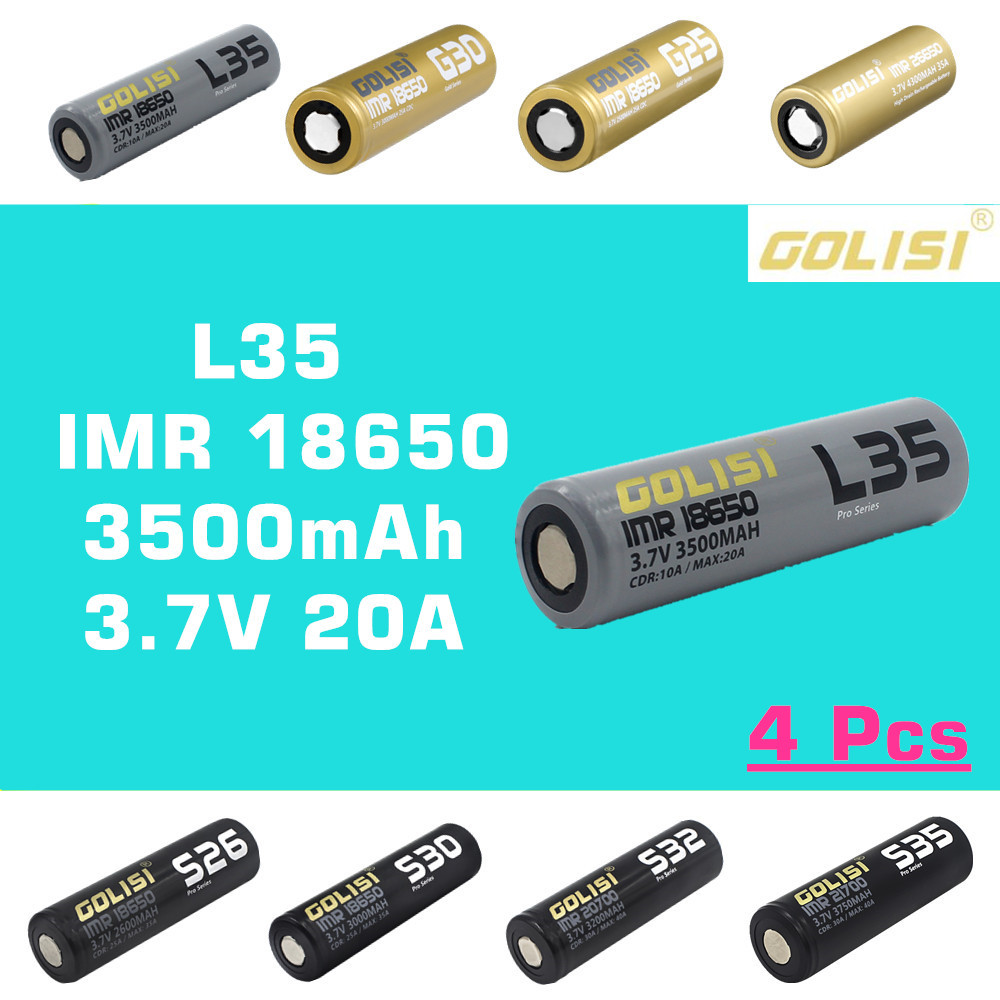 <font><b>4</b></font> <font><b>pcs</b></font> GOLISI L35 IMR <font><b>18650</b></font> 3500 mah 3.7V CDR 10A MAX 20A high drain E-CIG rechargeable <font><b>battery</b></font> for VAPE flashlight headlamp toy image