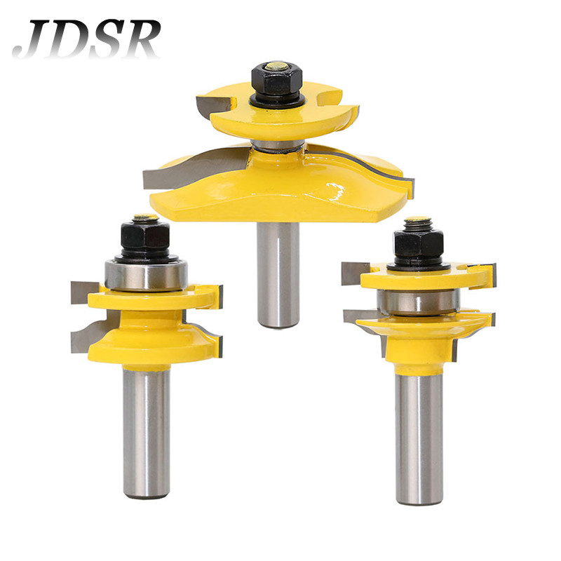 JDSR 3Pcs 1/2''Shank Raised Panel Cabinet Door Router Bit Set Woodworking Tenon Milling Cutter For Wood Working Cutting Tool Set цена