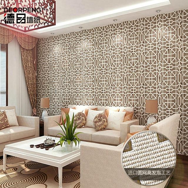 Chinesische Moderne Plaid Tapete 3d Eingang Wohnzimmer TV Kulisse Tapeten Weiß  Braun Angebote