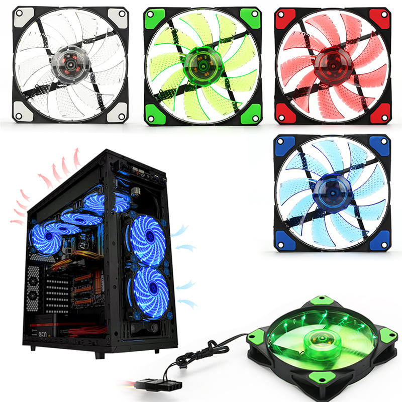 120mm 15 LED Ultra Silent Computer PC Case Cooling Fan 15 LEDs 12V With Rubber Quiet Molex Connector 3 / 4Pin plug fans Cooler del 60mm pc cpu cooling fan 12v 3 pin computer case cooler quiet molex connector mar09