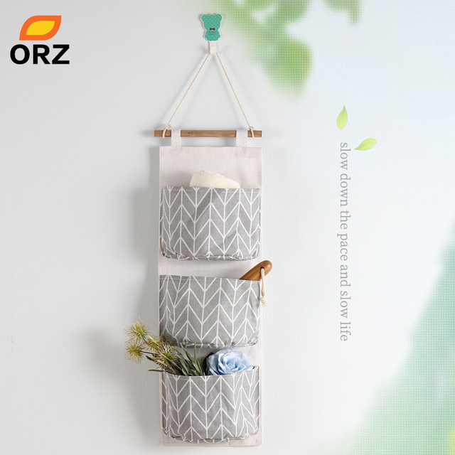 Exceptionnel ORZ 3 Pockets Wall Hanging Storage Bag Cotton Bathroom Closet Organizer  Home Office Storage Basket Wall