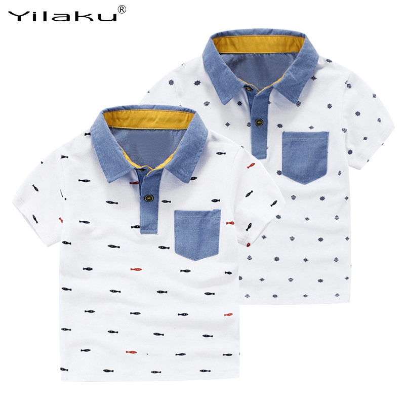 Yilaku Boys T Shirts Summer T-shirts for Boy Short Sleeve Tops Tees Printed Kids Clothes Polo Shirt Children Clothing CG072